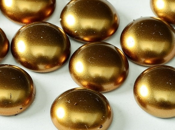 10 pcs Cabochon, 14mm, Brass Gold, Czech Glass