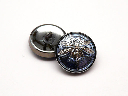 1 pc Czech Glass Button, Blue Montana Silver Dragonfly, Hand Painted, Size 8 (18mm)