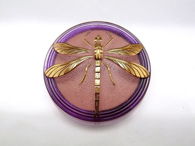 Czech Glass Button, Cabochon Pink Purple Crystal with Gold Dragonfly (Smooth Reverse Side), Hand Painted, Size 18 (40.5mm)
