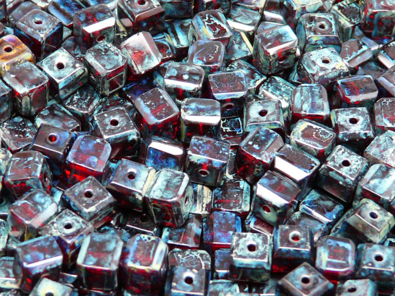 Cube Faceted Beads, 6x6x5.5mm, Ruby Travertine, Czech Glass