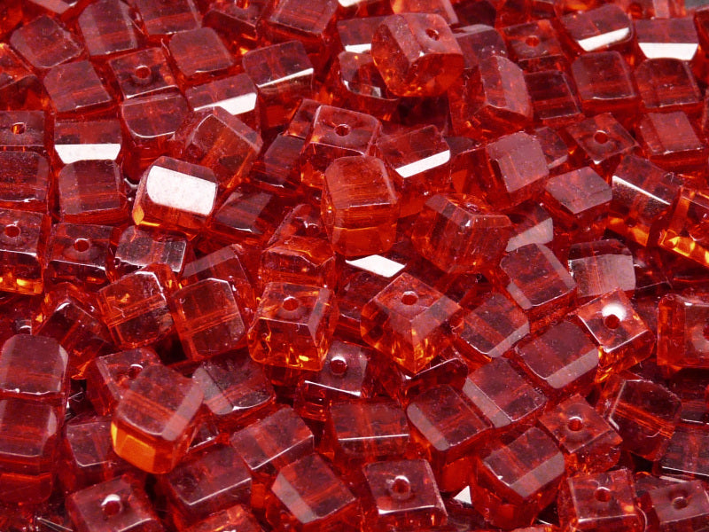 15 pcs Cube Faceted Beads, 6x6x5.5mm, Ruby, Czech Glass