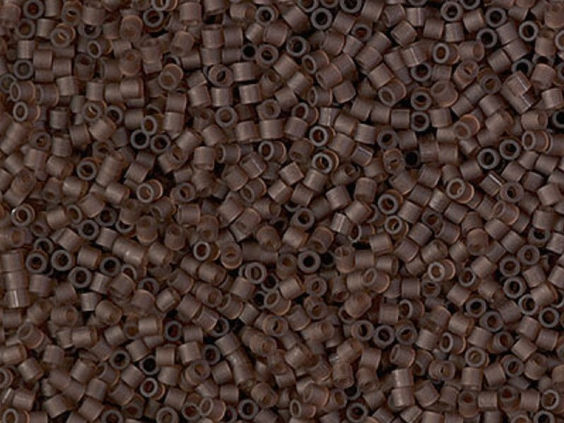 5 g Delica Seed Beads 15/0, Transparent Root Beer Matted, Miyuki Japanese Beads