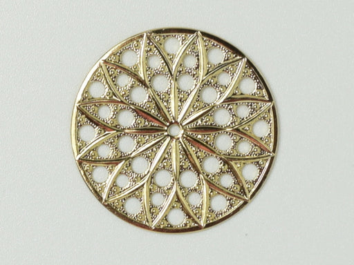 Filigree Round 30 mm, 23KT Gold Plated, Metal