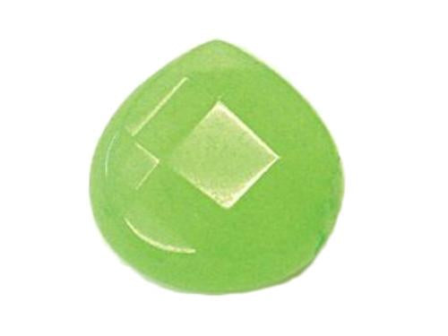 Hand Cut Semi-precious stones Wide Drop shape 16x16x6.5 mm, Lime Jade, Minerals,