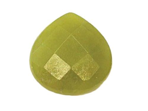 Hand Cut Semi-precious stones Wide Drop shape 16x16x6.5 mm, Olive Jade, Minerals,