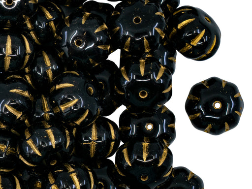 Pumpkin Beads 8x11 mm, Jet Black With Gold Streaks, Czech Glass