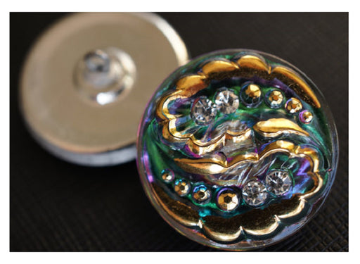 1 pc Czech Glass Button Hand Painted, Size 12 (27.0mm | 1 1/16''), Gold Green Purple with Crystal Rhinestones, Czech Glass