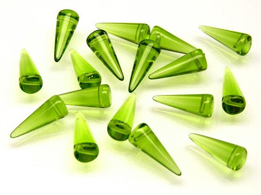 10 pcs Spike Pressed Beads, 7x17mm, Green Yellow Transparent, Czech Glass