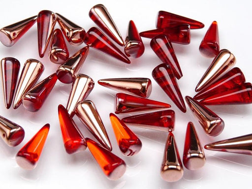 10 pcs Spike Pressed Beads, 7x17mm, Ruby Half Capri Gold, Czech Glass