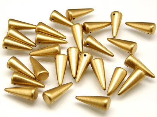 10 pcs Spike Pressed Beads, 7x17mm, Gold Metallic, Czech Glass