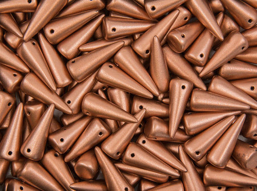 10 pcs Spike Pressed Beads, 7x17mm, Copper Metallic, Czech Glass