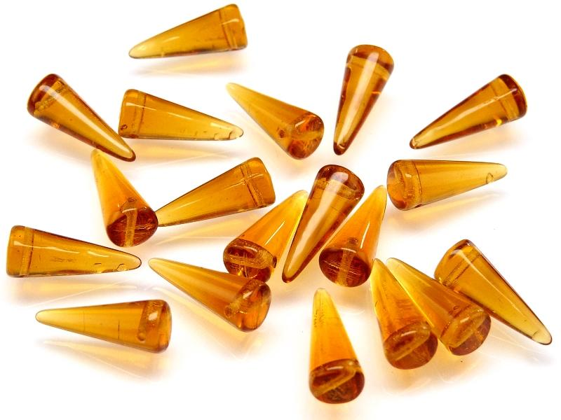 10 pcs Spike Pressed Beads, 7x17mm, Amber, Czech Glass
