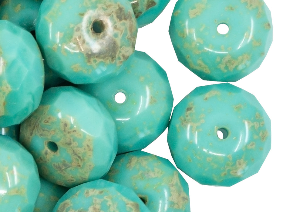 5 pcs Rondelle Fire Polished Beads, 17x11mm, Opaque Turquoise Green Travertine, Czech Glass
