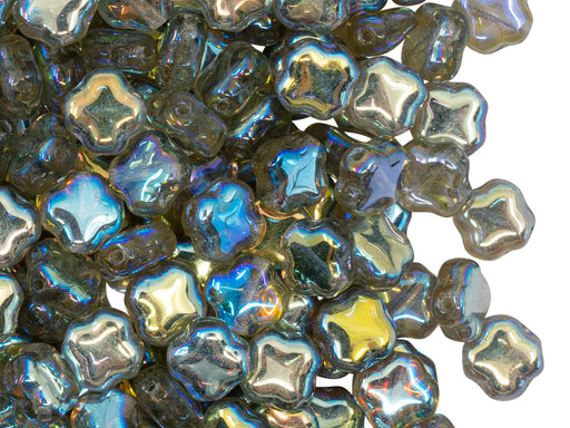 Four Pointed Star Beads 7x7x4 mm, Crystal Green Rainbow, Czech Glass