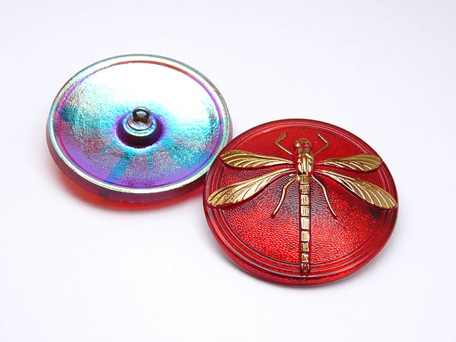 1 pc Czech Glass Button Hand Painted, Size 18 (40.5mm | 1 1/2''), Ruby Gold Dragonfly, Czech Glass