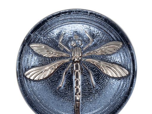 1 pc Czech Glass Cabochon Blue Montana Silver Dragonfly (Smooth Reverse Side), Hand Painted, Size 18 (40.5mm)