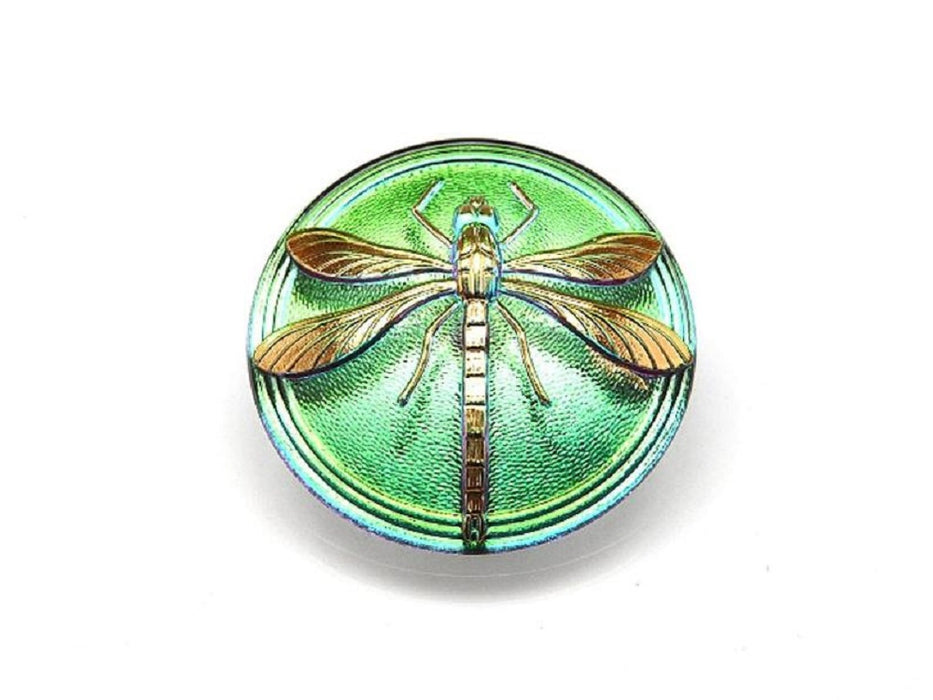 1 pc Czech Glass Cabochon Green Purple Vitrail Gold Dragonfly, Hand Painted, Size 18 (40.5mm)