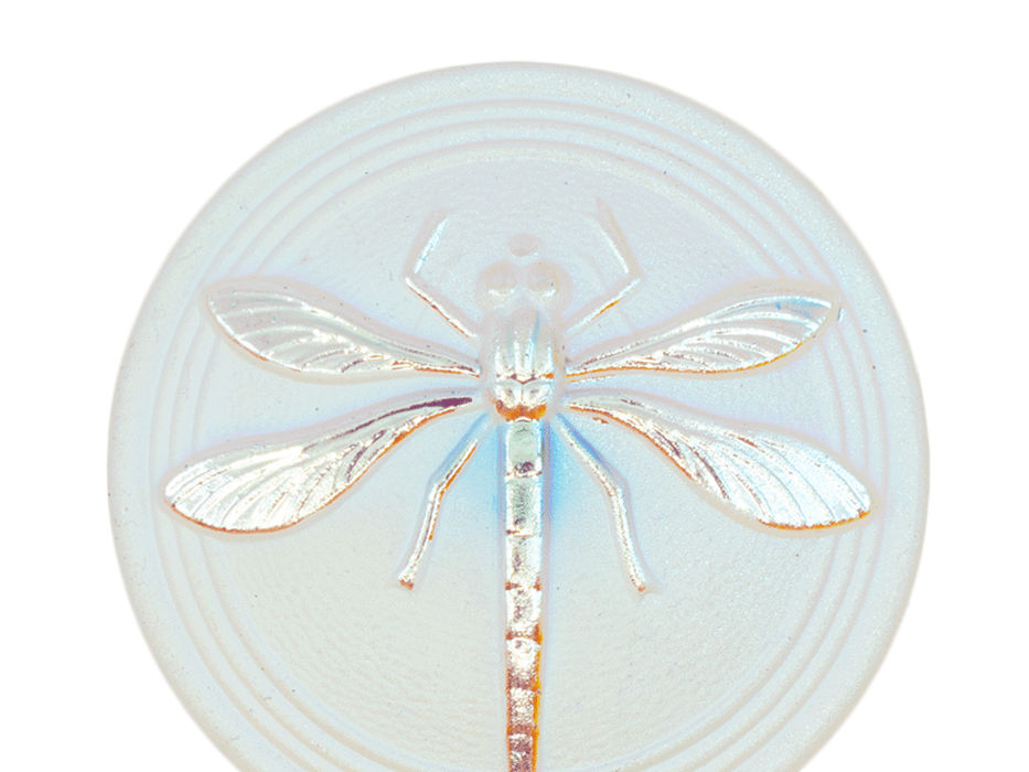 1 pc Czech Glass Cabochon White Matte Silver Dragonfly (Smooth Reverse Side), Hand Painted, Size 18 (40.5mm)