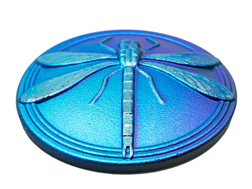 1 pc Czech Glass Cabochon Blue Green Matte Gold Dragonfly (Smooth Reverse Side), Hand Painted, Size 18 (40.5mm)