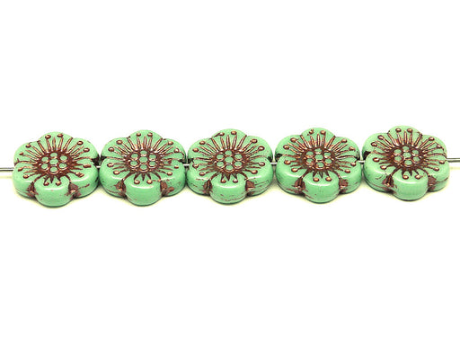12 pcs Flower Beads, 18mm, Opaque Green with Bronze Fired Color, Czech Glass