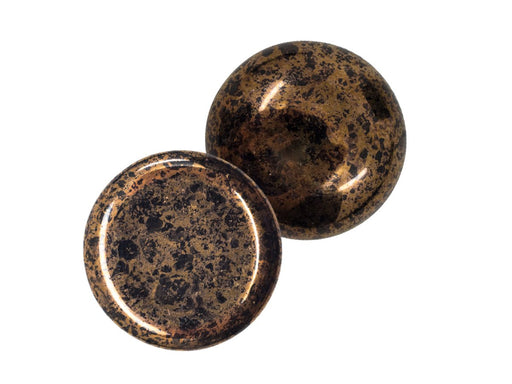 1 pc 1 pc Czech Glass Cabochons 18 mm Jet Bronze Czech Glass Brown