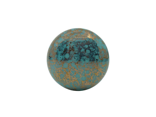 Cabochon 18 mm, Opaque Green Turquoise Bronze, Czech Glass