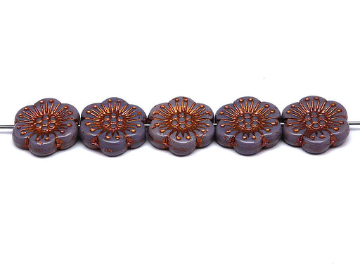 12 pcs Flower Beads, 18mm, Opaque Amethyst with Bronze Fired Color, Czech Glass