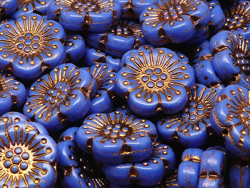 12 pcs Flower Beads, 18mm, Opaque Navy Blue with Bronze Fired Color, Czech Glass