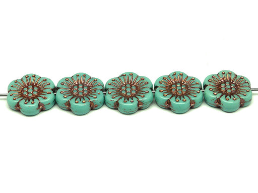 12 pcs Flower Beads, 18mm, Opaque Turquoise Green with Bronze Fired Color, Czech Glass