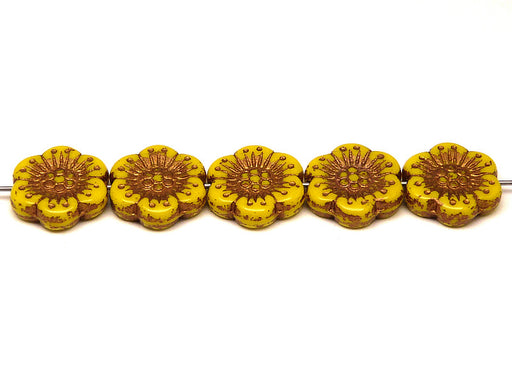 12 pcs Flower Beads, 18mm, Opaque Yellow with Bronze Fired Color, Czech Glass