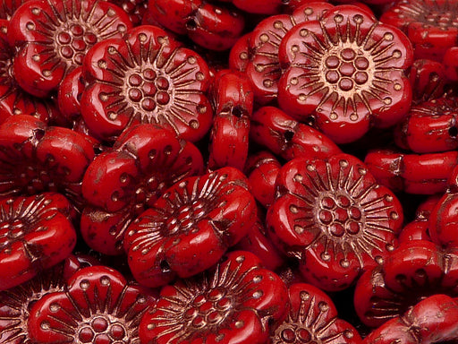 12 pcs Flower Beads, 18mm, Red Coral with Bronze Fired Color, Czech Glass