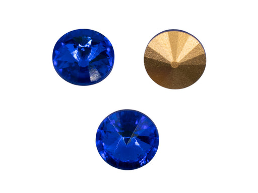 Matubo Rivoli 12 mm, Sapphire With Gold Foiled, Czech Glass