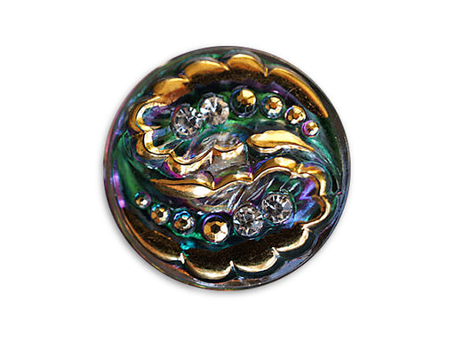 Czech Glass Button Hand Painted, Size 12 (27.0mm | 1 1/16''), Gold Green Purple with Crystal Rhinestones, Czech Glass
