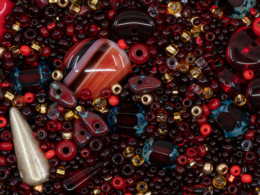 Glass Bead Mix , Burgundy Ruby, Czech Glass