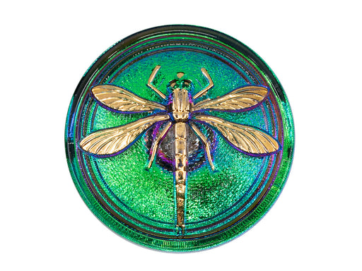 Czech Glass Buttons Hand Painted, Size 14 (31.5mm | 1 1/4''), Purple Green Chameleon With Gold Dragonfly, Czech Glass