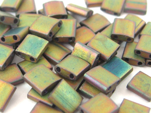 Tila™Beads 5x5 mm, 2 Holes, Matted Metallic Khaki Iris, Miyuki Japanese Beads