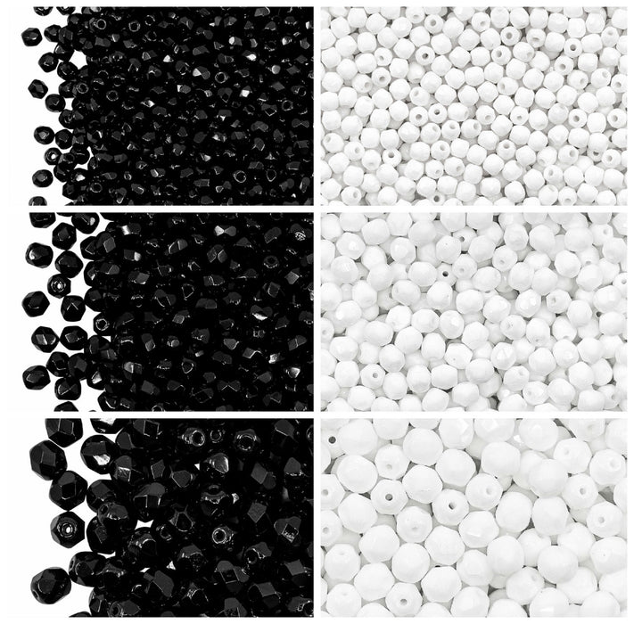 Set of Round Fire Polished Beads (3mm, 4mm, 6mm), 2 colors: Jet Black and Chalk White, Czech Glass