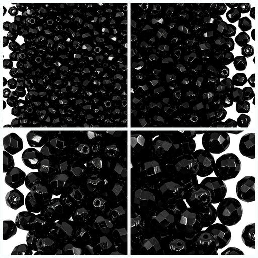 Set of Round Fire Polished Beads (3mm, 4mm, 6mm, 8mm), Jet Black, Czech Glass