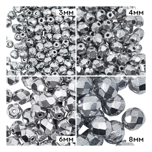 Set of Round Fire Polished Beads (3mm, 4mm, 6mm, 8mm), Crystal Full Labrador (Silver Metallic), Czech Glass