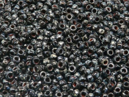 MATUBO Seed Beads Rocailles 7/0, Jet Black Picasso, Czech Glass