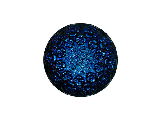 Czech Glass Buttons Hand Painted, Size 10 (22.5mm | 7/8''), Jet Black AB With Flower Ornament, Czech Glass