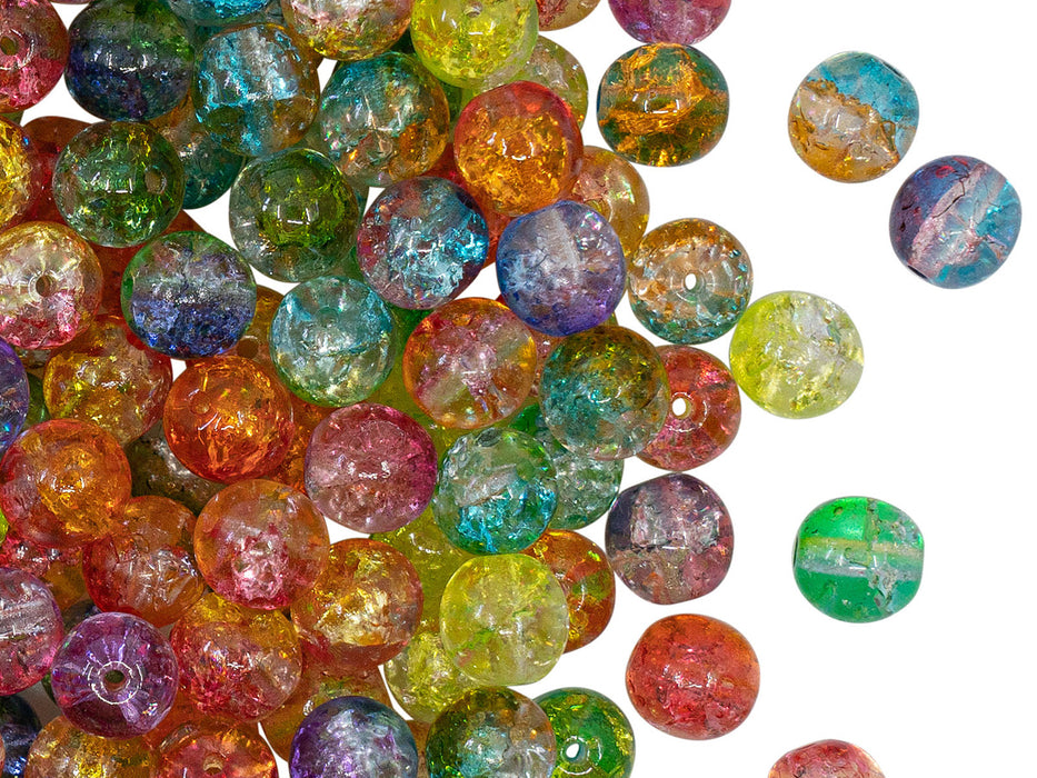 Round Beads 6 mm, Crystal Mix Cracked Effect, Czech Glass