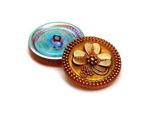 Czech Glass Button Hand Painted, Size 12 (27.0mm | 1 1/16''), Topaz Gold Ornament, Czech Glass
