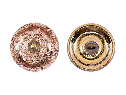 Czech Glass Buttons Hand Painted, Size 8 (18.0mm | 3/4''), Transparent Chain Ornament with Rose Gold Background, Czech Glass
