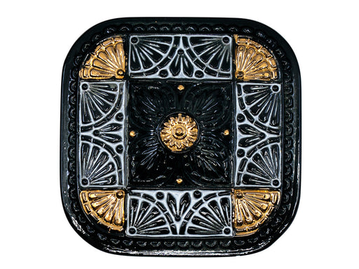 Czech Glass Button Square 33x33 mm Hand Painted, Czech Glass Buttons, Jet Black With Gold White Symmetrical Ornament, Czech Glass