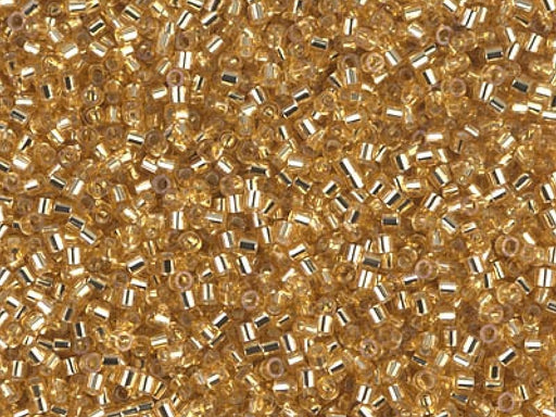 Delica Seed Beads 15/0, Gold Silver Lined, Miyuki Japanese Beads