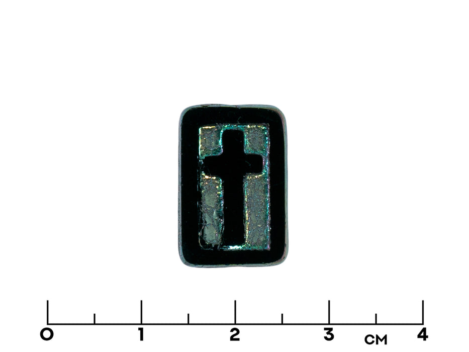 "3 pcs Table Cut Rectangle Beads 17x11x4 mm, Jet Travertine ""Cross"", white fired color, Czech Glass"