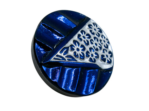1 pc Czech Glass Buttons Hand Painted, Size 8 (18.0mm | 3/4''), Black AB Blue With Silver Flowers in Triangle, Czech Glass