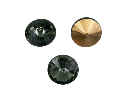Matubo Rivoli 12 mm, Black Diamond With Gold Foiled, Czech Glass