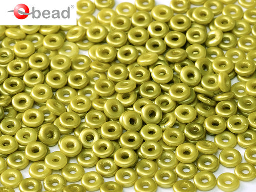 O Beads 4x1 mm, Alabaster Pastel Lime, Czech Glass